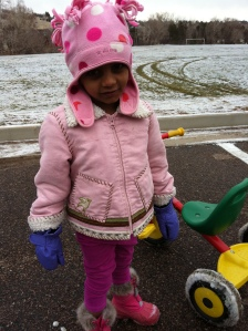 First day in a hat and gloves :-)
